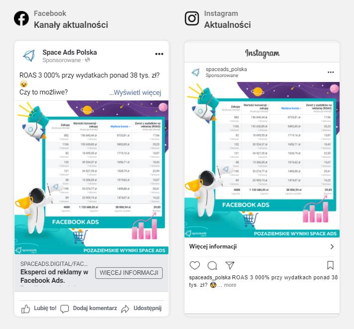 Umiejscowienie waktualnościach reklamy naFacebooku