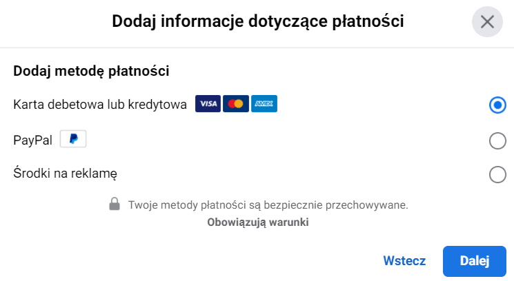 Informacje dotyczące płatności reklam naFacebooku