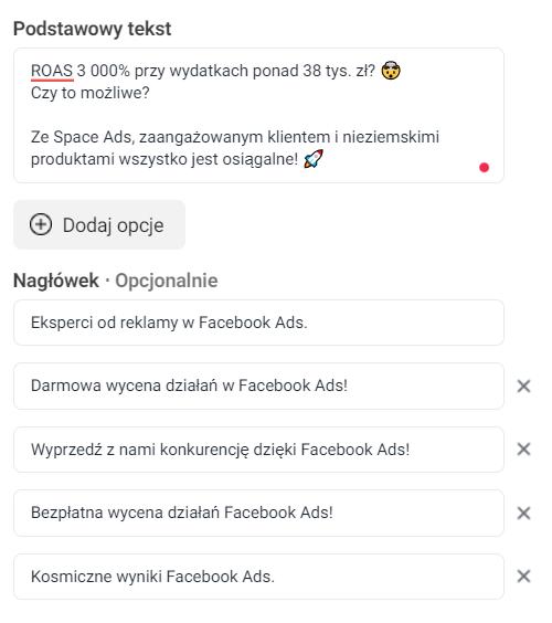 Podstawowy tekst Facebook Ads