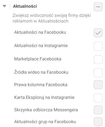 Umiejscowienie - Aktualności wreklamie naFacebooku